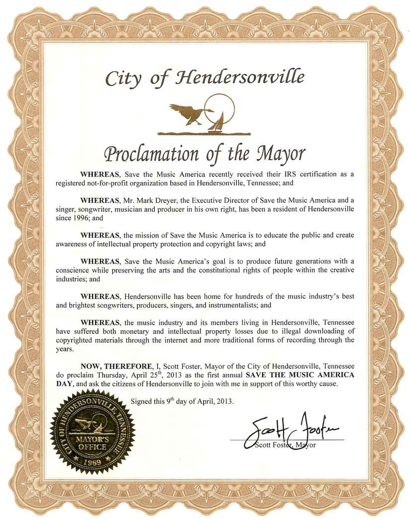 Hendersonville, TN Mayor proclaims Save The Music America Day